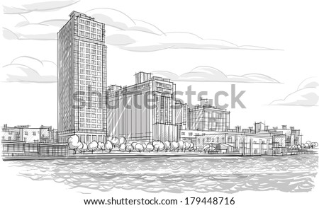 Architecture. Sketch. Drawing of building.City - stock vector