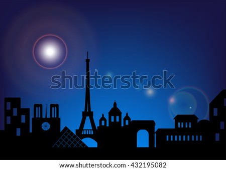 Architecture skyline of France by night, Silhouette skyline of Paris ,Vector illustration - stock vector