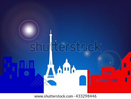 Architecture skyline of France by night, Silhouette skyline of Paris with French flag ,Vector illustration - stock vector