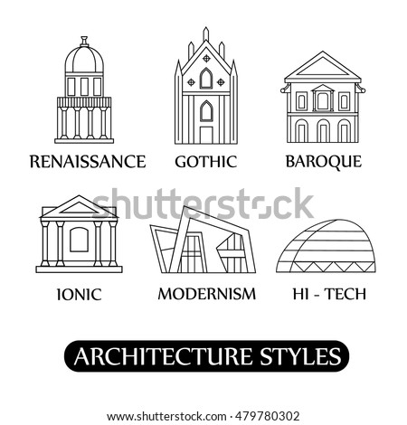Architecture Style Sketch Illustration Baroque Modernism Stock ...