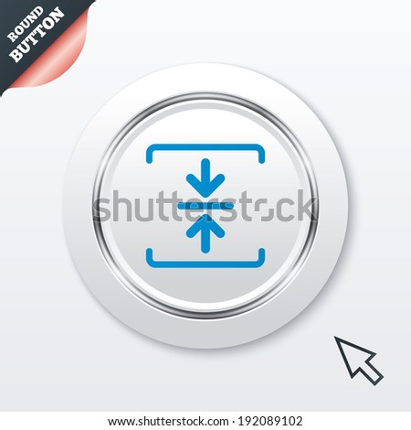 Archive file sign icon. Compressed zipped file symbol. Arrows. White button with metallic line. Modern UI website button with mouse cursor pointer. Vector