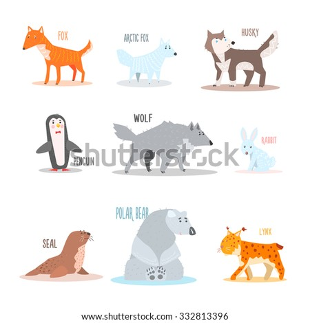 Arctic and Antarctic Animals and Penguin. Flat Vector Illustration - stock vector
