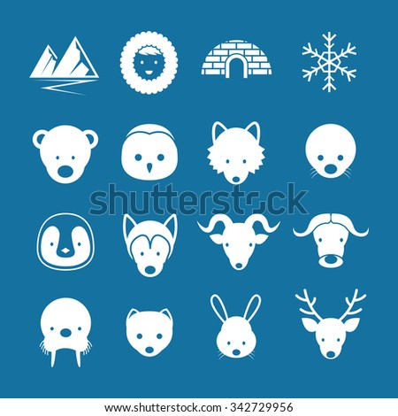 Arctic Animals Flat Icons Mono Color Set, Winter, Nature Travel and Wildlife - stock vector