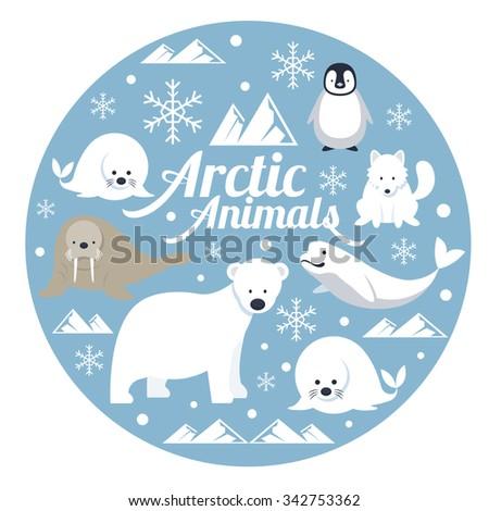 Arctic Animals, Label, Winter, Nature Travel and Wildlife - stock vector