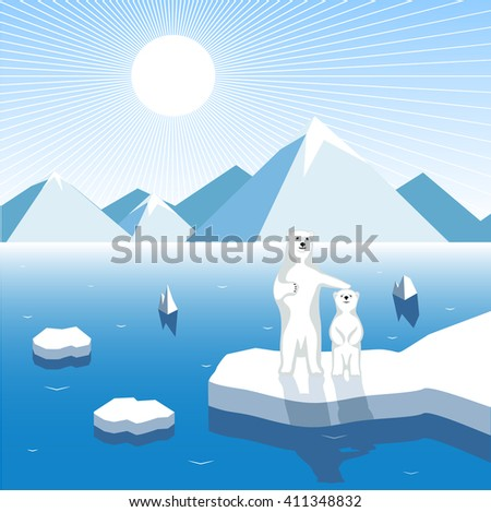 Arctic bear-cub with a female bear on a block of ice, artistic illustration - stock vector