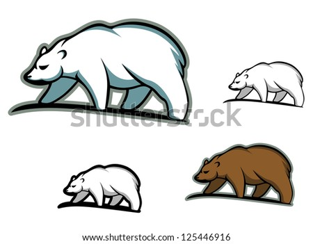 Arctic bears in cartoon style for mascot or emblem design, such as idea of logo. Jpeg version also available in gallery - stock vector