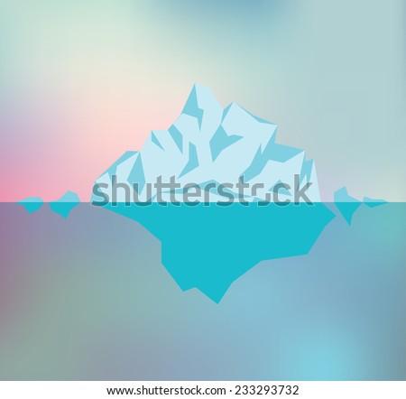 Arctic iceberg in the ocean, vector illustration - stock vector