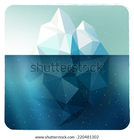 Arctic iceberg vector picture in grunge white frame with snow illustration - stock vector