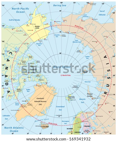 arctic map - stock vector