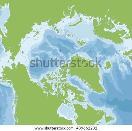 Arctic Ocean map - stock vector