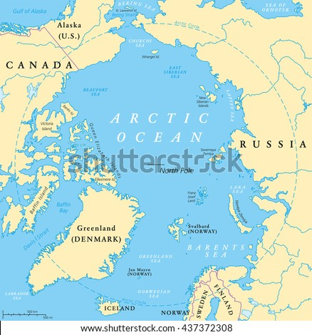 Arctic Ocean Map North Pole Arctic Stock Vector - Norway lakes map
