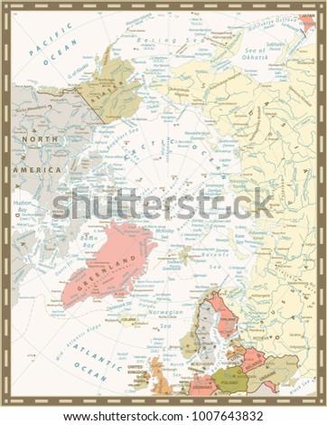 Arctic Ocean Political Map Retro Colors Stock Vector 1007643832