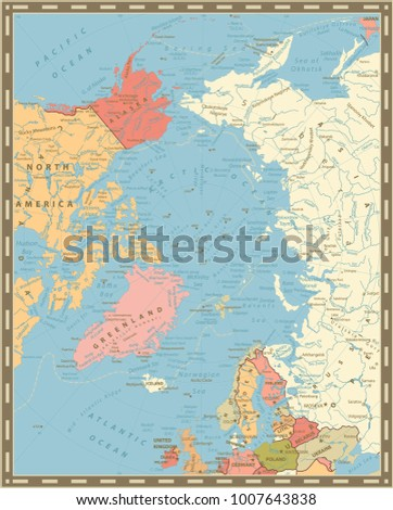Arctic Ocean Political Map Vintage Colors Stock Vector 1007643838 ...