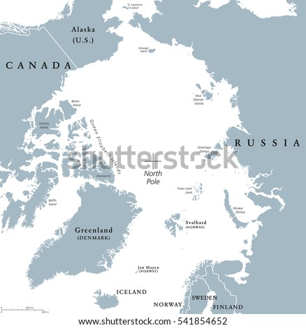 Arctic region political map polar region vector de stock541854652 arctic region political map polar region around the north pole at the northernmost part of gumiabroncs Image collections