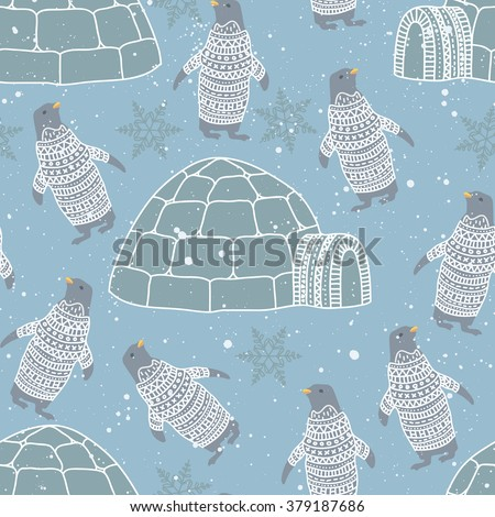 Arctic Space Pattern with Penguin - stock vector