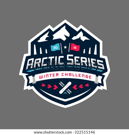 Arctic sports winter competition graphic design logo emblem - stock vector