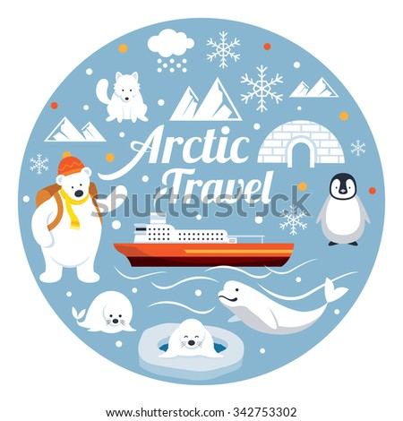Arctic Travel, Label, Winter, Nature and Wildlife - stock vector