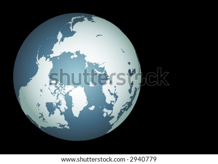 Arctic (Vector). Accurate map of the arctic. Mapped onto a globe. Includes greenland, iceland, baffin island, and all the other islands of the far north. - stock vector