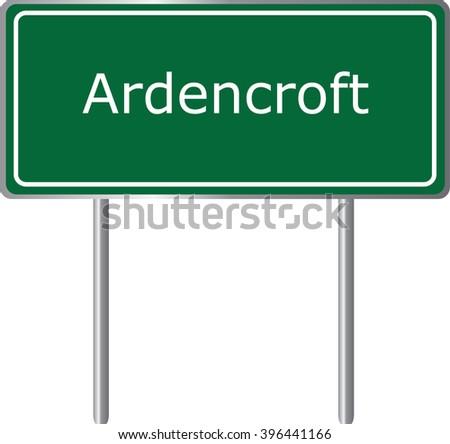 Ardencroft , Delaware , road sign green vector illustration, road table, USA city - stock vector