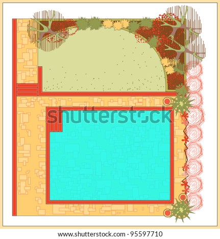 Area for recreation with a swimming pool. The project is a garden with a swimming pool. - stock vector