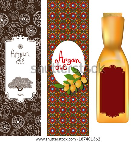Argan oil elements, bottles with labels and Argan tree - stock vector