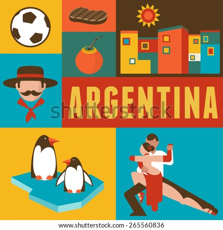 Argentina background and poster - set of icons and illustrations - stock vector