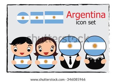 Argentina boy, girl, businessman, business women cartoon vector illustration and Argentina round, square and normal flag icon set - stock vector
