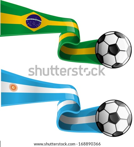 argentina & brazil flag with soccer ball - stock vector