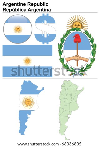 Argentina collection including flag, map (administrative division), symbol, currency unit & glossy button - stock vector