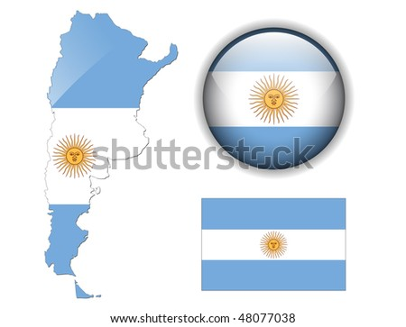 Argentina flag, map and glossy button, vector illustration set. - stock vector