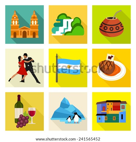 Argentina icon set - stock vector