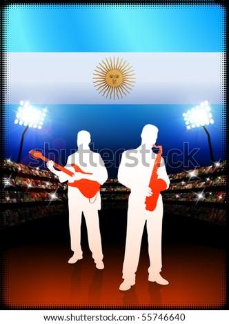 Argentina Live Music Band on Stadium Concert Background with Flag Original Illustration - stock vector