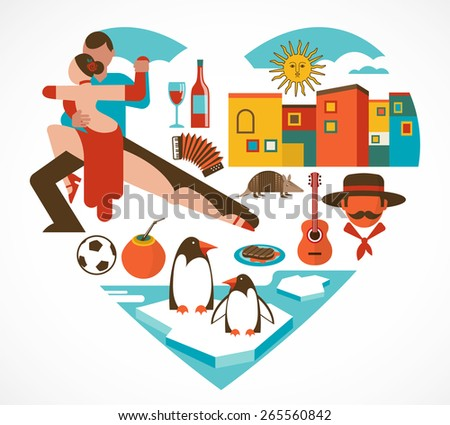 Argentina love - heart with a set of icons and illustrations - stock vector