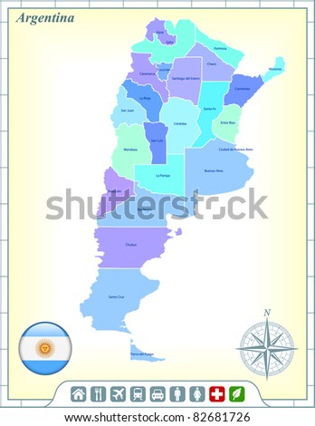 Argentina Map with Flag Buttons and Assistance & Activates Icons Original Illustration - stock vector