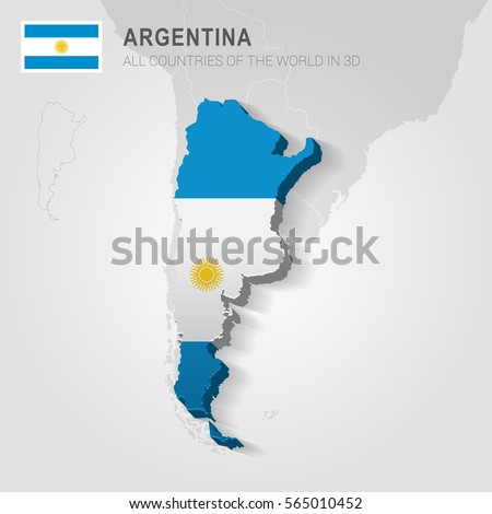 Italy Neighboring Countries Europe Administrative Map Stock Vector - Argentina 3d map