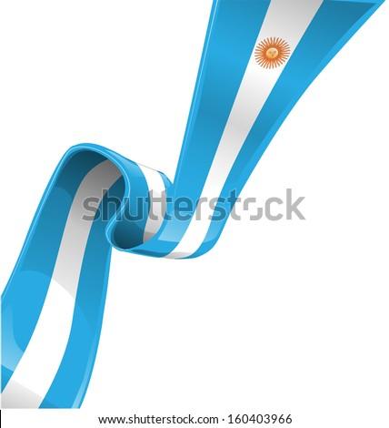 argentina ribbon flag on white background - stock vector