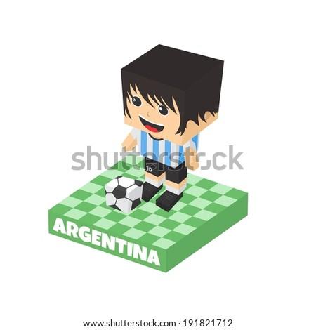 argentina soccer block isometric cartoon character - stock vector