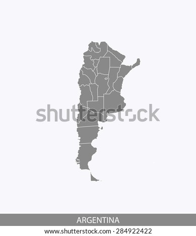 Argentina vector, Argentina map outlines in contrasted grey background for brochure design and publication uses - stock vector