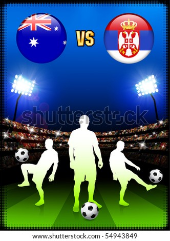 Argentina versus Serbia on Abstract Green Stars Background Original Illustration - stock vector