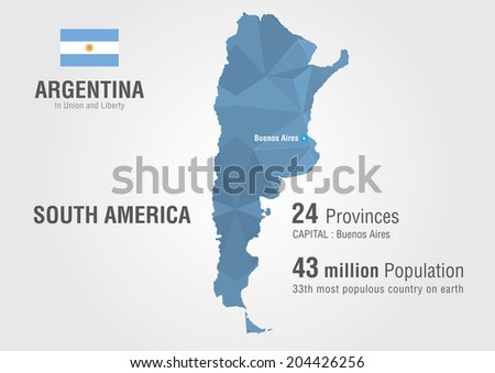 Argentina world map with a pattern of pixel diamond. - stock vector
