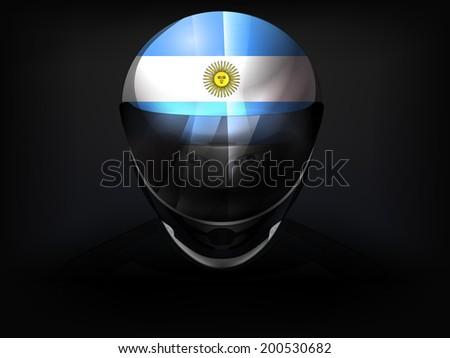 Argentine racer with flag on helmet vector closeup illustration - stock vector