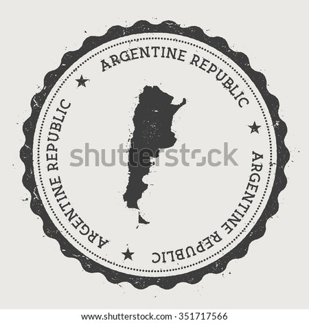 Argentine Republic. Hipster round rubber stamp with Argentina map. Vintage passport stamp with circular text and stars, vector illustration - stock vector