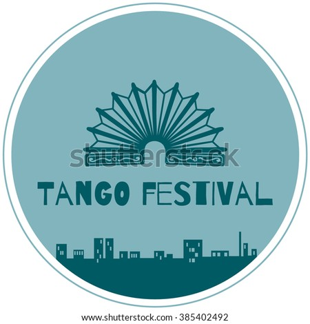 Argentine tango symbols, bandoneon and town at night.Argentine tango symbols, bandoneon and town at night. - stock vector