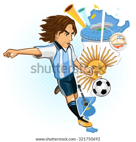 Argentines Soccer Player Kick Ball With Background Of Map And Culture Of Argentina - stock vector