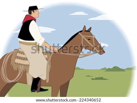 Argentinian gaucho on horse in the middle of the pampas - stock vector