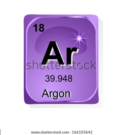 Argon chemical element with atomic number, symbol and ...