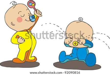 arguing babies - stock vector