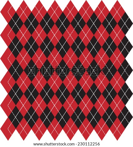 Argyle Black and Red Background - Vector