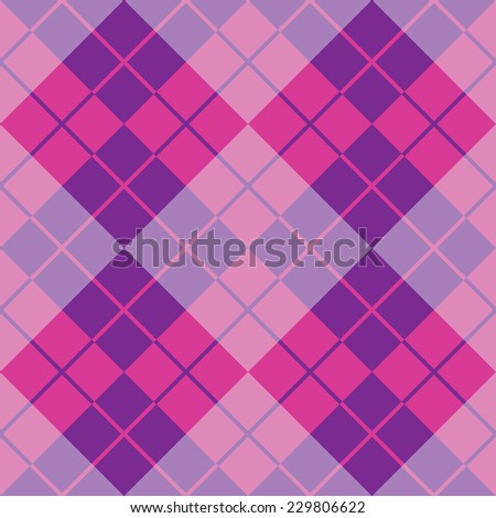 Argyle design in pink and purple repeats seamlessly. - stock vector