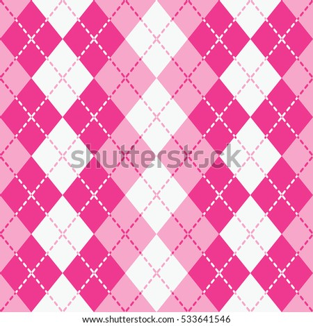 Argyle pattern with dashed lines in pink and white repeats seamlessly. Elements are grouped by color. Pattern is in Swatches Palette.